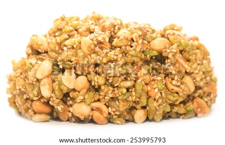 nut brittle isolated on white backgound