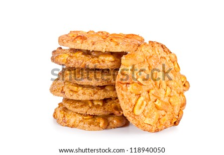 nut cookies on white background - stock photo