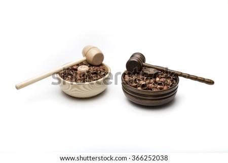 Nut cracker and nut shell - stock photo