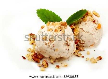 nut ice cream over white - stock photo