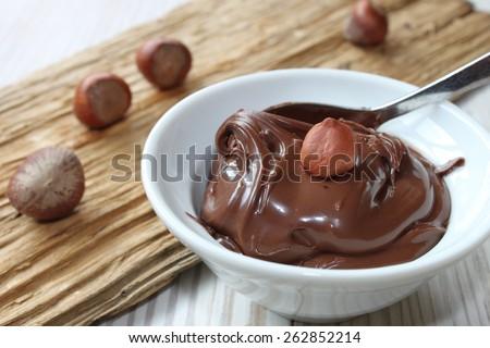 nut nougat cream - nutella - stock photo