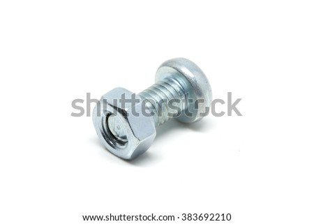 Nut, screw on a white background.