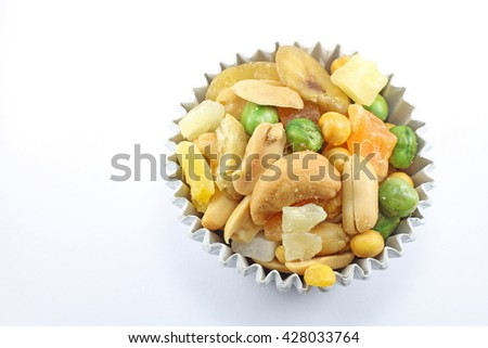 Nut snack and dry fruit isolate - stock photo