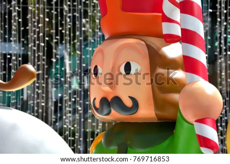 Nutcracker holding Christmas Candy Cane - Fiberglass Christmas Mascots - Noel - Close-Up