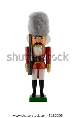 Nutcracker Soldier Isolated on White - stock photo