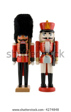 Nutcracker Soldiers Isolated on White - stock photo