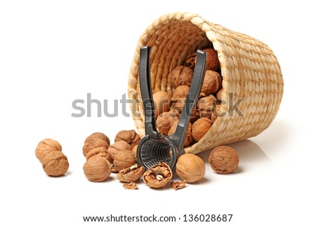nutcracker with walnut close up part isolated on white background