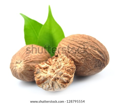 Nutmeg closeup isolated - stock photo