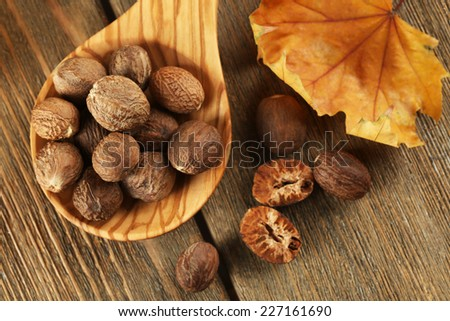 Nutmeg in wooden spoon on table close up - stock photo