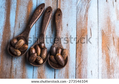nutmeg on the wooden spoon at blue wooden table - stock photo