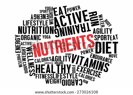 NUTRIENTS word on wordcloud concept - stock photo