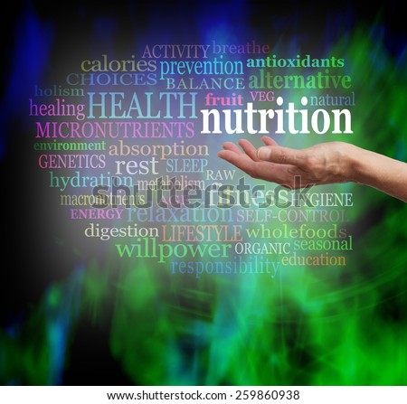 Nutrition and Health Word Cloud - Female outstretched palm facing up with the word NUTRITION floating above, surrounded by a relevant word cloud  on a modern grunge green and black background       - stock photo