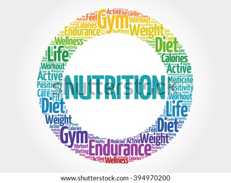Nutrition circle stamp word cloud, fitness, sport, health concept - stock photo