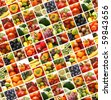 Nutrition collage of many pictures - stock vector