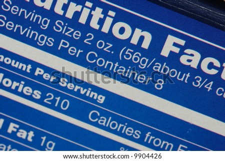 Nutrition Facts Label - stock photo