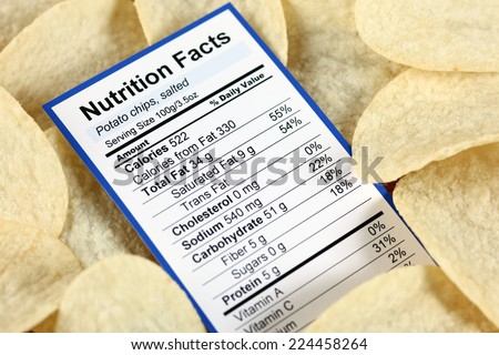 Nutrition facts of salted potato chips with potato chips background  - stock photo