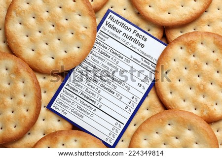 Nutrition facts per crackers with the background of the crackers - stock photo
