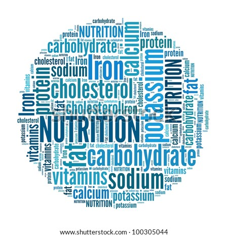 Nutrition in word collage - stock photo