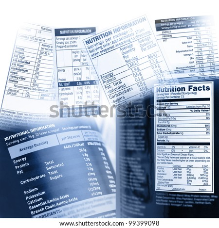 Nutrition information facts on assorted food labels - stock photo