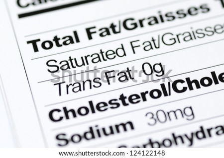 Nutrition label focused on Trans Fat content concept healthy eating - stock photo