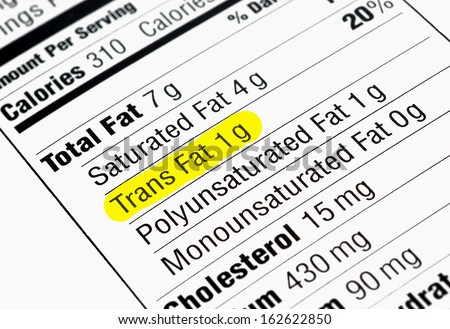 Nutrition label highlighting the unhealthy trans fats - stock photo