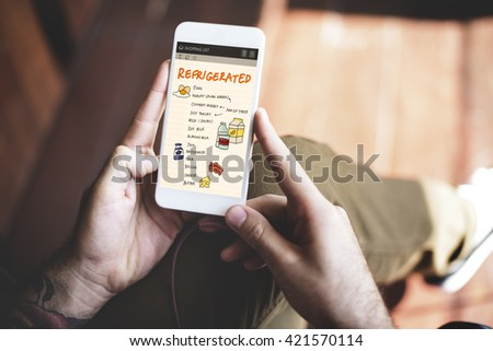 Nutrition Refrigerated Grocery Shopping List Concept - stock photo