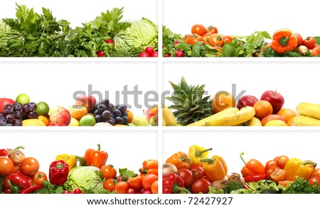 Nutrition textures (fruits and vegetables isolated on white) - stock photo