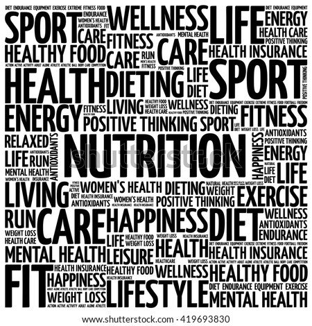 Nutrition word cloud background, health concept - stock photo
