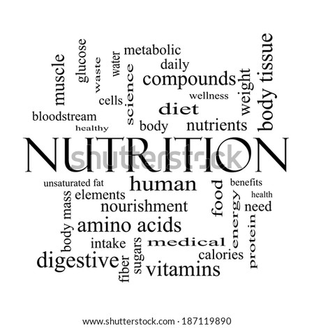 Nutrition word cloud concept in black and white with great terms such as human body
