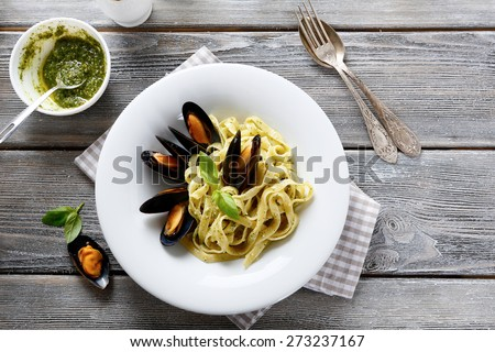 Nutritional pasta with seafood, top view