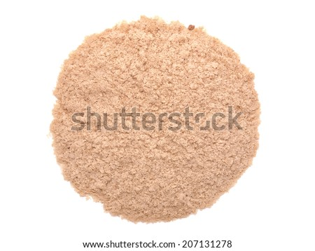 Nutritional yeast (deactivated yeast) isolated on white background - stock photo