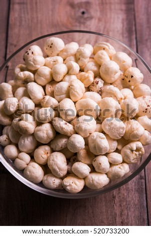 Nutritious Lotus Seedsor roasted makhana or makana inside a bowl