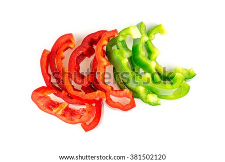 Nutritious red and green capsicum peppers studio isolated - stock photo