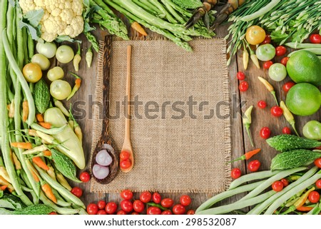 Nutritious vegetables frame and background