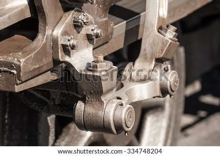 nuts and bolts on a vintage steam train locomotive - stock photo