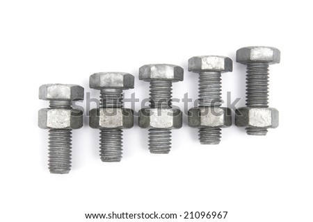 Nuts and Bolts on a white background - stock photo