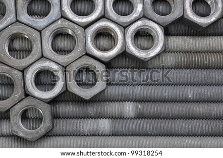 Nuts and bolts, order of constructor - stock photo