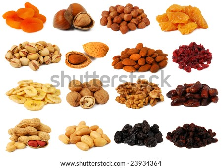 Nuts and dried fruits - stock photo