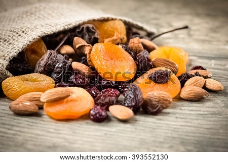 Nuts and dried fruits mix - stock photo