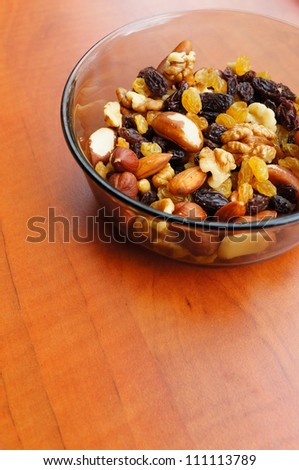 Nuts and raisins mix in a bowl