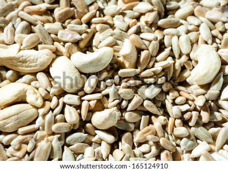 nuts and seeds background, view from above - stock photo