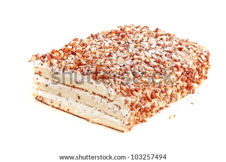 nuts cake closeup isolated on a white