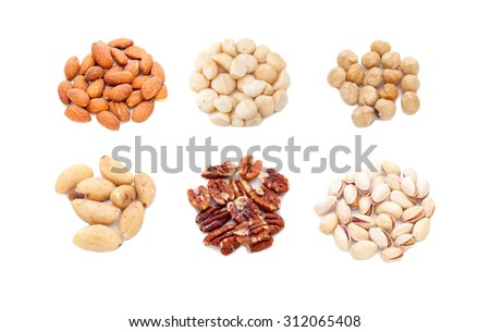Nuts collection on white background - stock photo