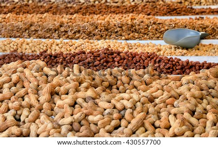nuts for sale at the market in Italy