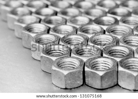 Nuts in an organized array pattern - stock photo
