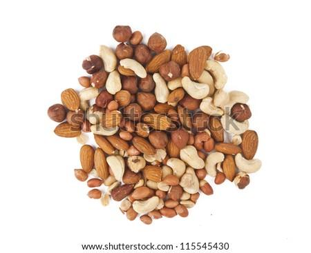 nuts isolated on white background - stock photo
