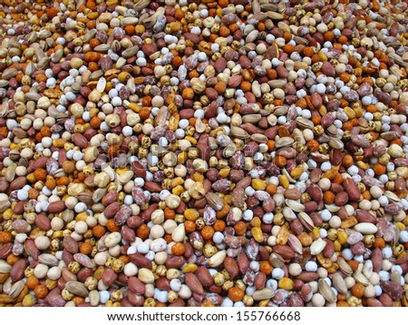 Nuts mix background (in Istanbul spice market) - stock photo
