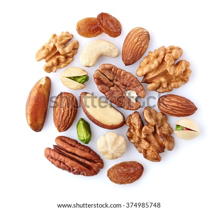 Nuts mix on a white background - stock photo