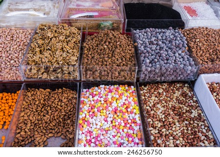Nuts on the market.Assortment of nuts - stock photo
