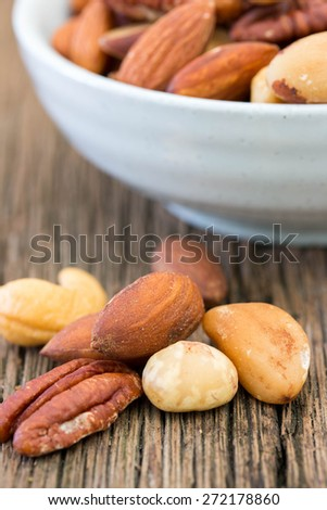 nuts on wooden - stock photo